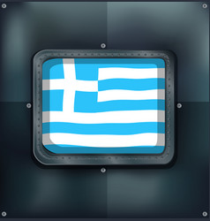 greece flag on metal wall vector image