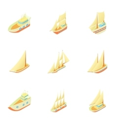 Yachts icons set cartoon style vector image vector image
