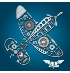 Air mechanic design with propeller airplane vector image