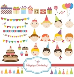 Birthday party set with children vector image