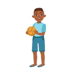 Black Teenage Boy With Ball Part Of Growing vector image