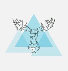 elk head geometric lines silhouette vector image vector image
