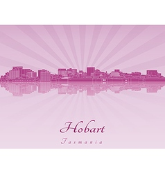 Hobart skyline in purple radiant orchid vector