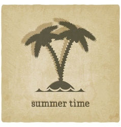 old background with palm tree vector image