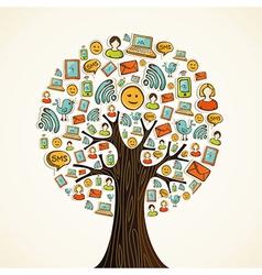 Social media icons tree vector image