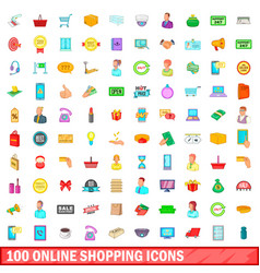 100 online shopping icons set cartoon style vector image