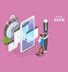 3d isometric flat concept online exam vector