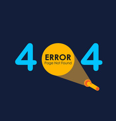 404 error with light of flashlight graphic on vector image