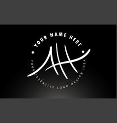 ah handwritten letters logo design with circular vector image