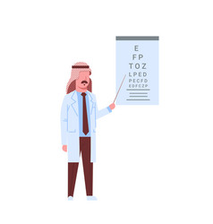 arab male doctor ophthalmologist pointing at vector image