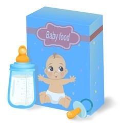 Baby food pack and milk bottle vector image