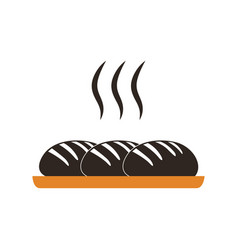 Baked bread warm colored vector