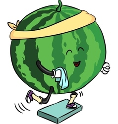 Beautiful ripe watermelon is engaged in fitness vector