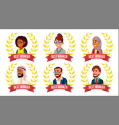 best worker employee set man woman arab vector image