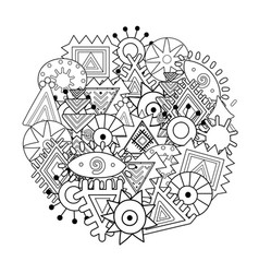 black and white abstract mandala coloring page vector image