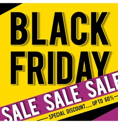 Black friday sale banner on yellow background vector image vector image