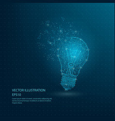 Blue bulb lamp low poly wire frame vector