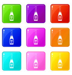 Bottle of champagne set 9 vector