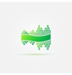 Bright green sound wave music icon vector