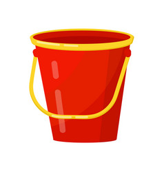 bright red bucket with yellow handle metal or vector image