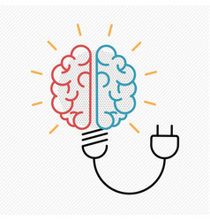 business idea concept of brain as light bulb vector image
