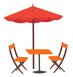 cafe and garden furniture wooden table chair vector image