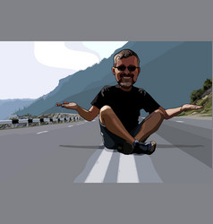 Cartoon funny man sitting on the roadway vector