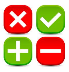 Checkmark cross plus minus vector