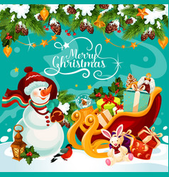 Christmas snowman gift greeting card vector