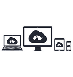 cloud network on computer display laptop tablet vector image