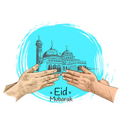 Colorful hand forgive mosque hand drawing vector