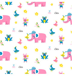 Cute animals pattern for kid textile and nursery vector