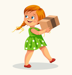 cute little girl carrying cardboard box poster vector image