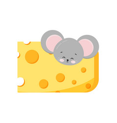Cute mouse head looking out hole in cheese vector