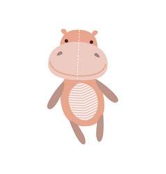 cute soft hippo plush toy stuffed cartoon animal vector image