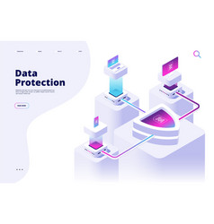 data protection concept digital security channel vector image