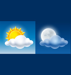 day and night sky with sun moon and cloud vector image