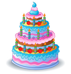Decorated birthday cake 1 vector