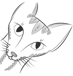 doodle cat head night animal tangle pattern vector image