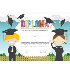 Elementary School Kids Diploma Certificate vector