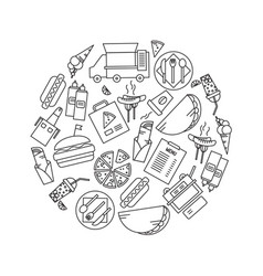 Fast food icons circle outline vector