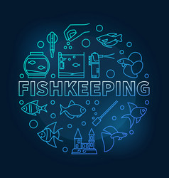 Fishkeeping blue round on dark vector