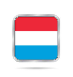 flag of luxembourg metallic gray square button vector image vector image