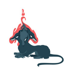 flat cartoon mythical cerberus vector image