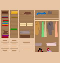 Flat design walk in closet with shelves vector