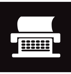 Flat icon in black and white style typewriter vector