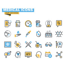 Flat line colorful medical icons collection vector