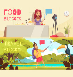 food blogger banners collection vector image