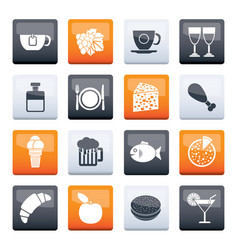 Food drink and beverage icons vector