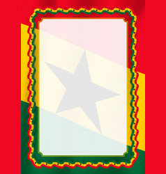 Frame and border of ribbon with ghana flag vector
